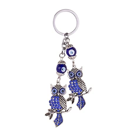 1 Pc Mini Pocket Vintage Turkish Blue Eye Owl Keychain Keyring Keyfob  Antique Silver Animal Key 89180b4faf