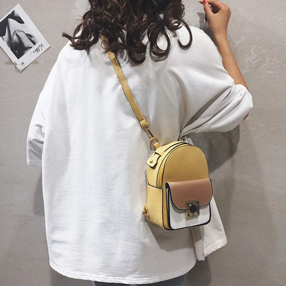 Auplew Sac à Dos Femme Sac à Main Couleur contrastée Sac à Dos en Cuir PU Multifonctionnel Petit Sac à Main poignée Sacs Jaune