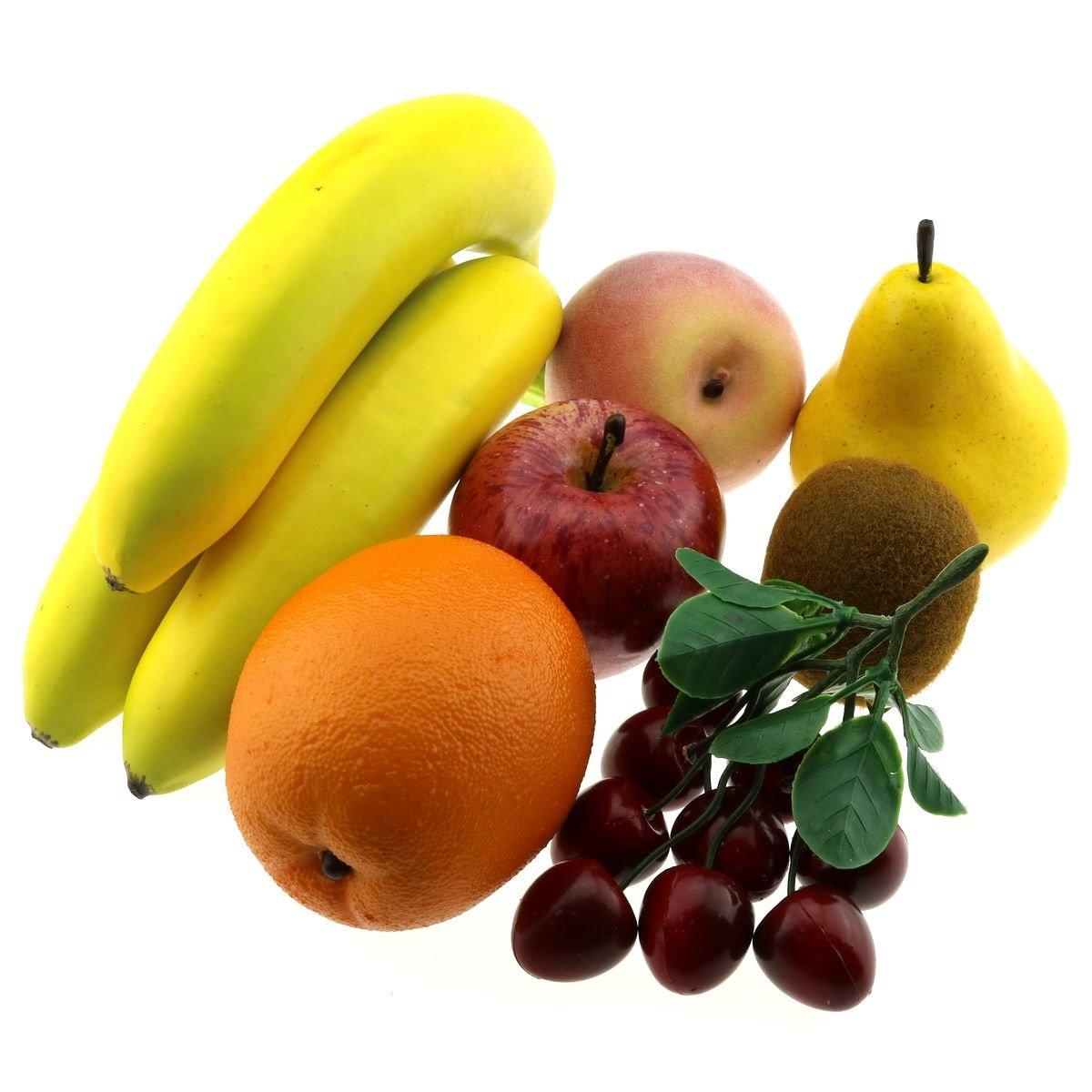 Gresorth Artificial Pear Apple Banana Peach Kiwi Orange Cherry Bunche Decoration Fake Fruit Set