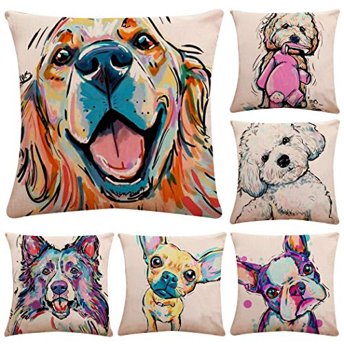 Polyester Throw Pillow Case Cushion Cover Home Sofa Decorative 18 X 18 Inch/45X45cm(Cover Only,No Insert) (6 Pack Lovely Dog) (Decorative Dogs Pillows)