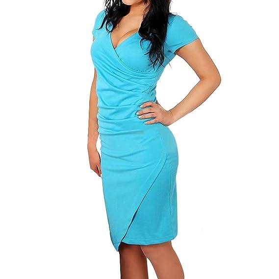 Vestidos De Fiesta Mujer hasta La Rodilla Elegantes Moda Oficina Negocios Vestido Lápiz Manga Corta V Cuello Color Sólido Apretados Vestido Coctel Dresses ...