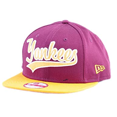 36a0a8117bde Casquette New Era – 9Fifty Mlb New York Yankees Lic065 bordeaux jaune blanc  taille