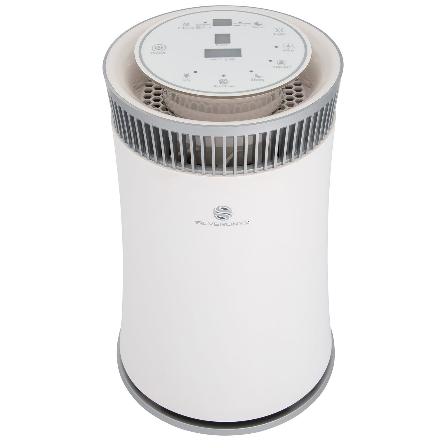 SilverOnyx Air Purifier with True HEPA Carbon Filter, UV Light, Ionizer. Best Home Air Cleaner for Allergies and Pets, Smoke, Dust, Mold, Smokers. Powerful Small to Large Room 500 sq ft. White by SilverOnyx
