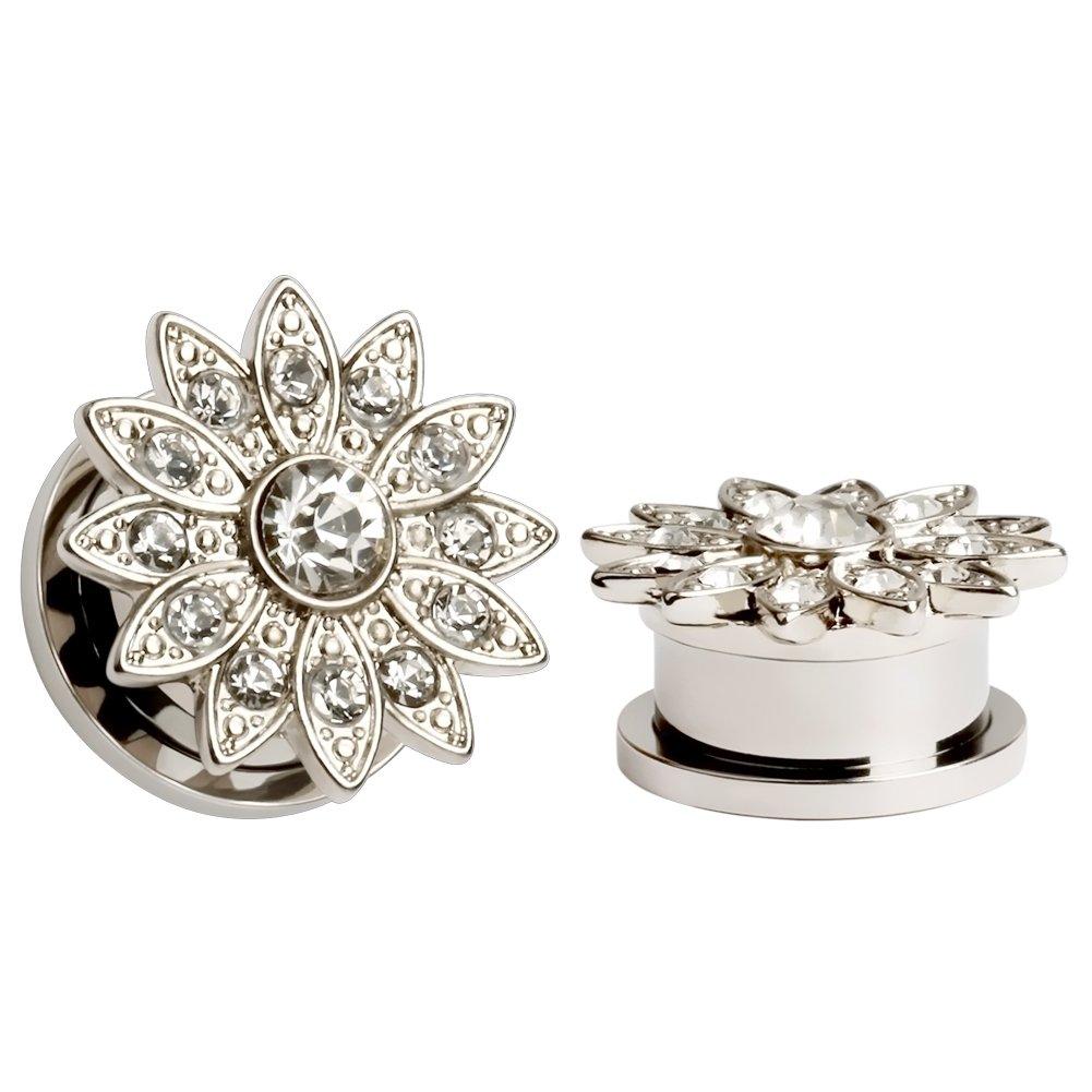KUBOOZ Popular Elegant Zircon Ear Plugs Tunnels Gauges Stretcher Piercings Jewelry LA115