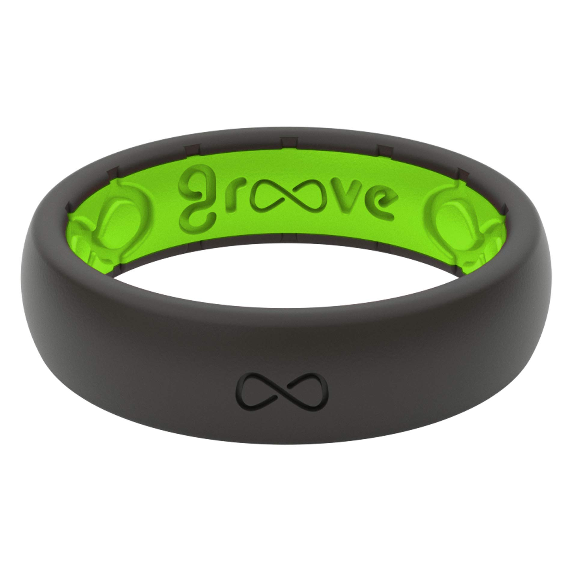 Groove Life - Silicone Ring for Men and for Women Wedding or Engagement Rubber Band with, Breathable Grooves, Comfort Fit, and Durability - Thin Solid Midnight Black/Green Size 4