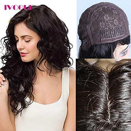 ivogue pelo humano peluca Kosher judío de encaje suave parte superior de seda virgen pelo humano