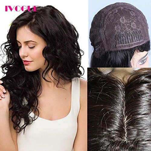 iVogue Human Hair Kosher Wig Jewish Wig with Silk Base Soft Virgin European Human Hair Wigs Best Quality Silk Top None Lace Wig Human Hair Natural Skin Part (14inch, Natural Color)
