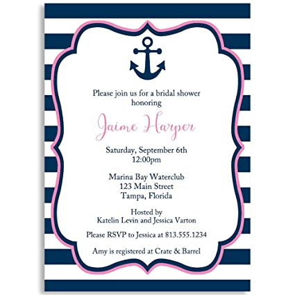 Nautical Wedding Invitations.Amazon Com Nautical Bridal Shower Invitations Navy Pink