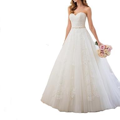 Westcorler Sweetheart Neckline Lace Wedding Dresses With Beaded ...