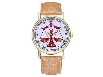 HOUHOUNNPO Reloj de Moda Libra Zodiac Cartel Cuero para Hombre Mujer Cumpleaños: Amazon.es: Deportes y aire libre