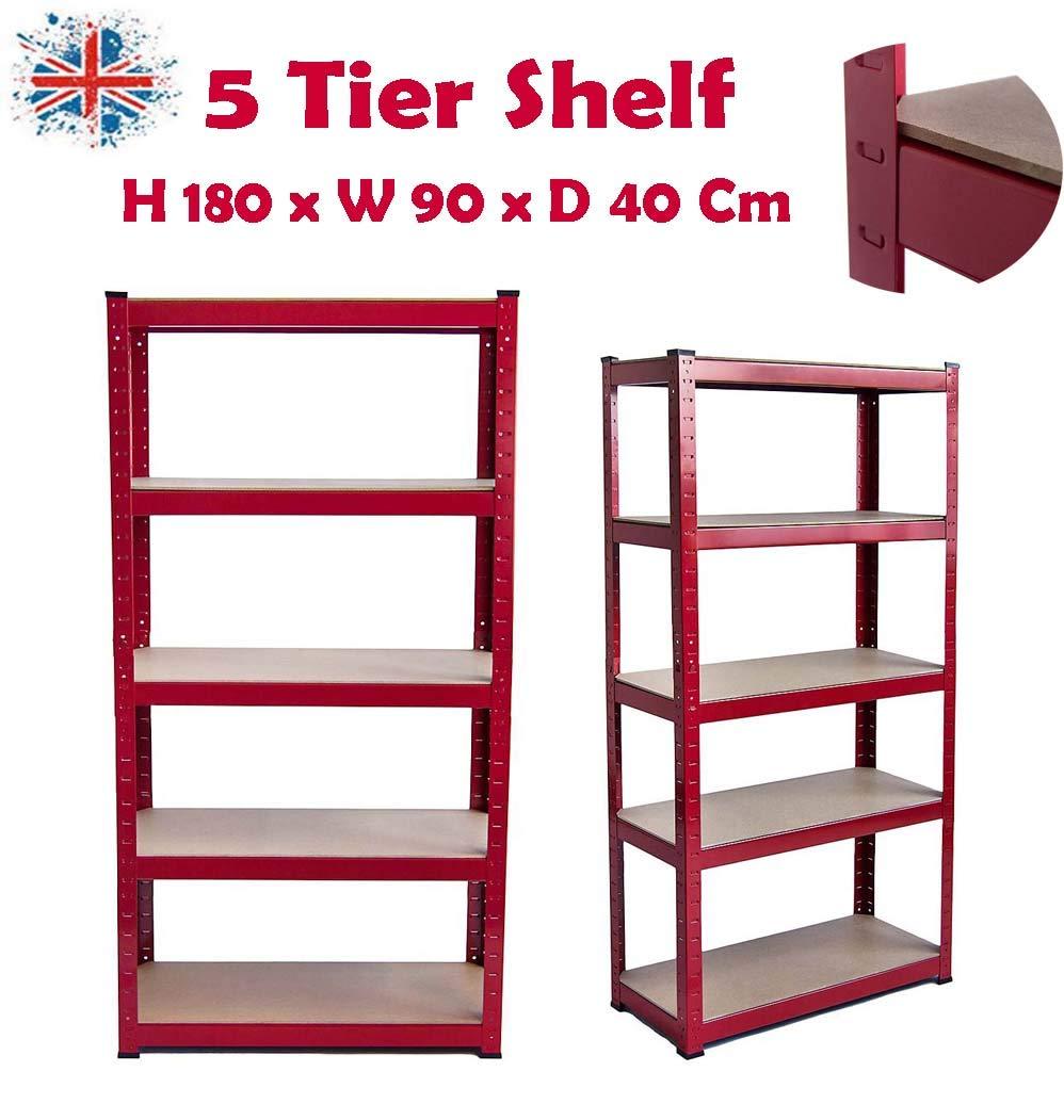 Shelving Garage Racking Unit 175KG Per Shelf 875KG Capacity 150cm x 70cm x 30cm 5 Tier Steel /& MDF Boltless Shelves UK Stock Galvanised SiKy Heavy Duty Storage Shelf
