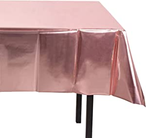 OUGOLD 1Pack Rose Gold Foil Tablecloth Table Cover 54 x 108 Inch Shiny Plastic Tablecloth Table Cloth Party Tablecovers for Rose Gold Party Table Decoration