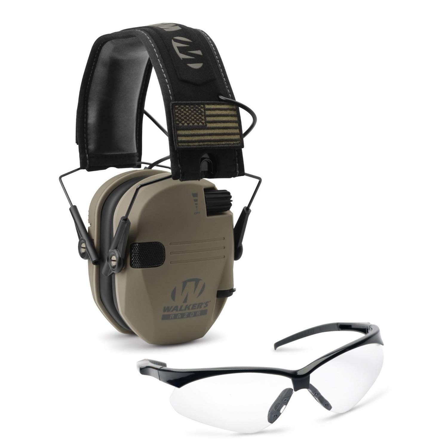 Walkers Razor Slim Electronic Hearing Protection Muffs with Sound Amplification and Suppression and Shooting Glasses Kit, Flat Dark Earth Patriot by Walkers (Image #1)