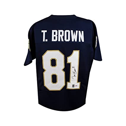 e542ccf24 Image Unavailable. Image not available for. Color  Tim Brown Autographed  Notre Dame Custom Blue Football Jersey - PSA DNA COA