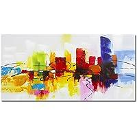 Fokenzary - Dipinto colorato astratto, realizzato a mano su tela, colori vivaci: rosso, verde, caffè, blu, decorazione per parete con cornice, pronto da appendere