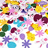 Faburo Foam Stickers, 160pcs Self Adhesive Glitter Eggs Sticker Rabbit Flower Chicken Shaped Sticker for Kids, DIY Craft, Art Supplies, Decorations