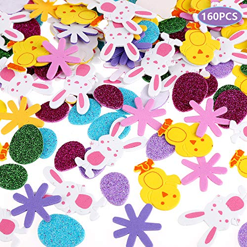 Faburo Easter Foam Stickers, 160pcs Self Adhesive Easter