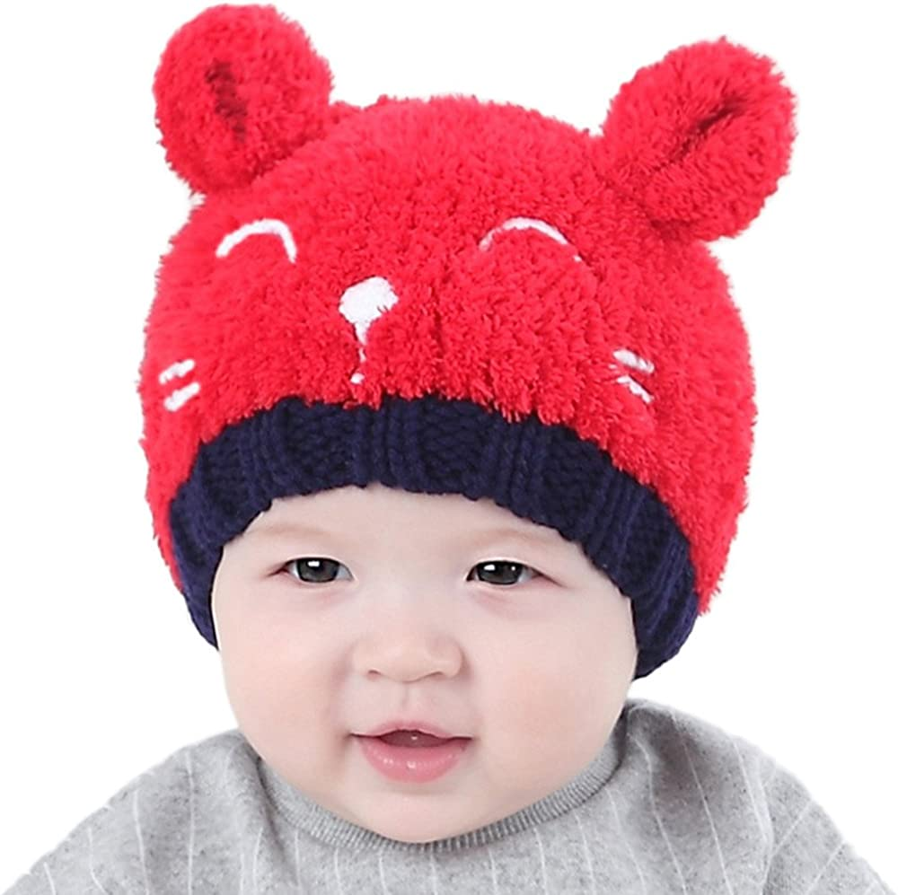 Baby Children Winter Cartoon Smile Face Cap Wool Pure Color Hat Knitting Hat M