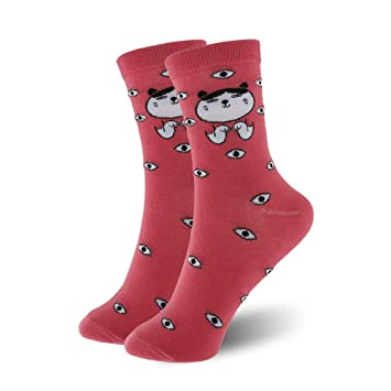 ZHANGJIANHUN Linda Mujer Cotton Socks Adorable Oso Panda de Cartoon Animal porcino Cat Dog Calcetines Calcetines Cortos Color Novedad Gracioso 3 Pares: ...