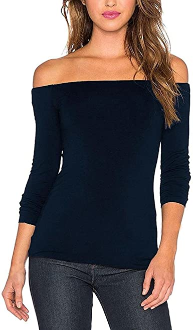 lang/ärmelig T-Shirt Damen Einschulter einfarbig