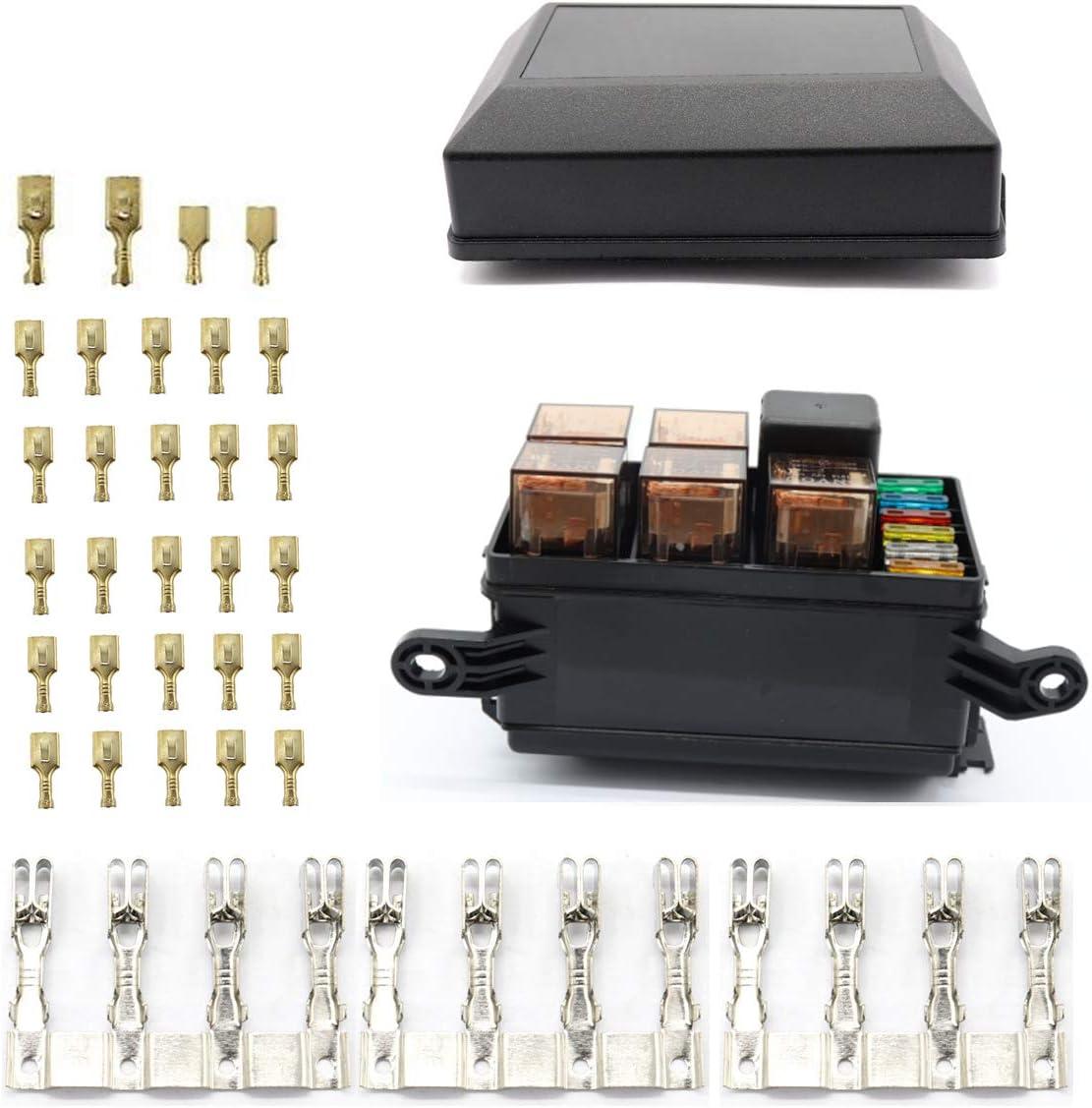 Vosarea Caja portafusibles de 6 vías y 12 voltios con relés 5PCS 5Pin 12V 40A y relés 1PC 4Pin 12V 40A para remolque de camión de carro (negro): Amazon.es: Bricolaje y herramientas