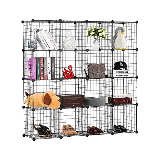 BASTUO 16 Cubes Wire Storage Cabinet DIY Bookcase Shelf Metal Modular Cubes Organizer,Closet for Toys,Books,Clothes,Black