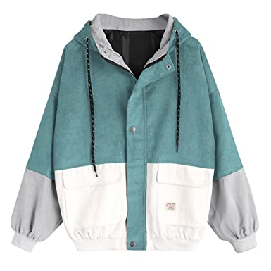 e2e7438a45 ZAFUL Women's Raglan Sleeve Drop Shoulder Color Block Corduroy Hooded Jacket  (Blue Green, ...
