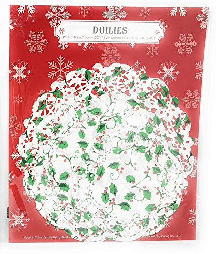 (24 Assorted Lace Paper Doilies Holly & Ivy Christmas)