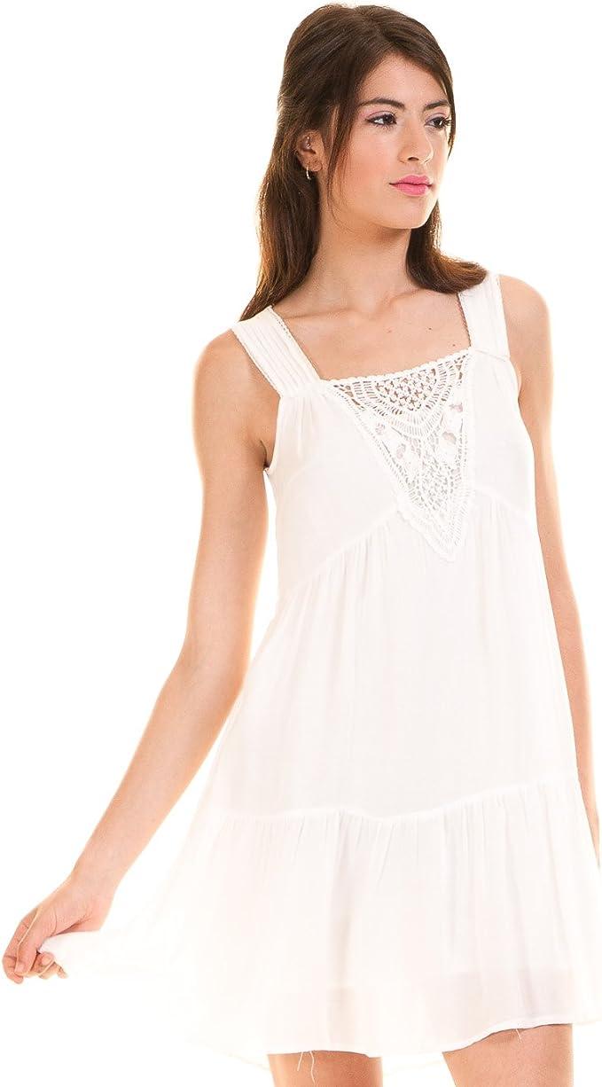 Vila Vestido Ibicenco Crochet Blanco Clothes (L - Blanco): Amazon.es: Ropa y accesorios