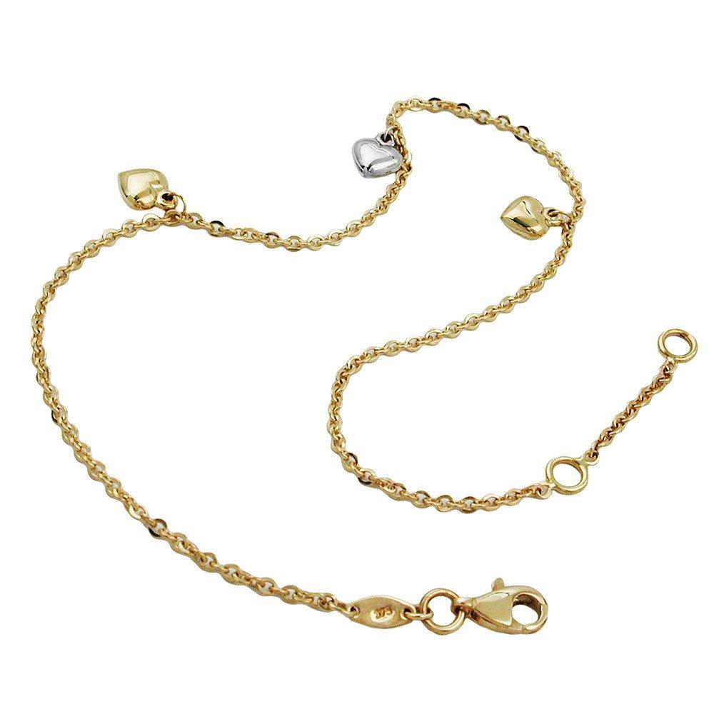 Anklet 511007 - Anchor Chain 3 Hearts 9ct Gold 25cm DEcus NObilis DE NO gal_511007-25