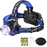 LED Rechargeable Headlamp Flashlight LBJD Super Bright Headlamps with 3 Rechargeable 18650 Battery for Long Working Time, USB