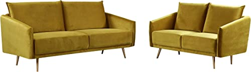 Container Furniture Direct Peterson Ultra Modern Velvet Living Room Sofa Set, 2 Piece, Olive Tone