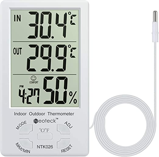LCD Temperature Gauge Thermometer Quick-Reading Indoors Convenient Use with 5m Cord