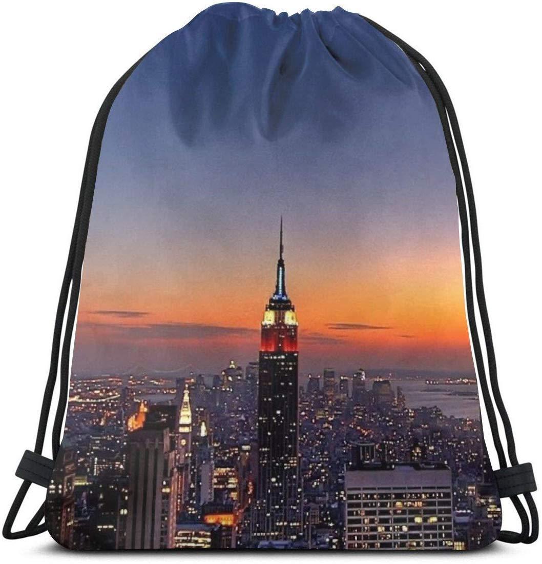 14.2 x 16.9 Pulgadas Jhonangel New York Night Skyscrapers Mochila con cord/ón para Bolsa de Gimnasia Unisex 36 x 43 cm