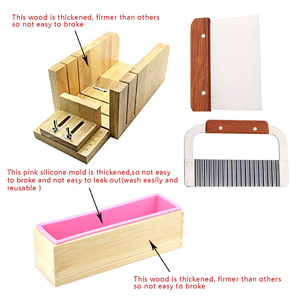 6MILES 2Pcs Stainless Steel Wavy and 1Pcs Straight Soap Mold Loaf Garnish Cake Cutter Cutting Tool Home Kitchen Graters Peelers Slicers Knife Set(Adjustable)+ Wood Box