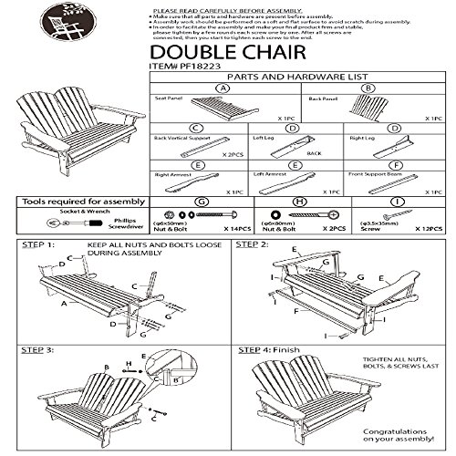 Home Yard Outdoor Living Leisure Fir Wood Double Recliner Seat, 50.4''× 35''× 34.3'' by Sonmer (Image #5)