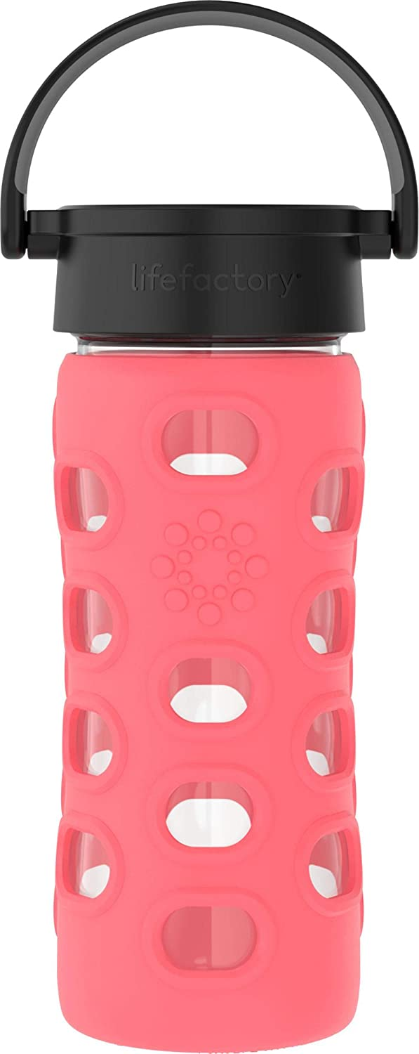 Lifefactory 12-Ounce BPA-Free Glass Water Bottle with Classic Cap and Protective Silicone Sleeve, Coral