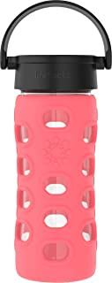 product image for Lifefactory 12-Ounce BPA-Free Glass Water Bottle with Classic Cap and Protective Silicone Sleeve, Coral