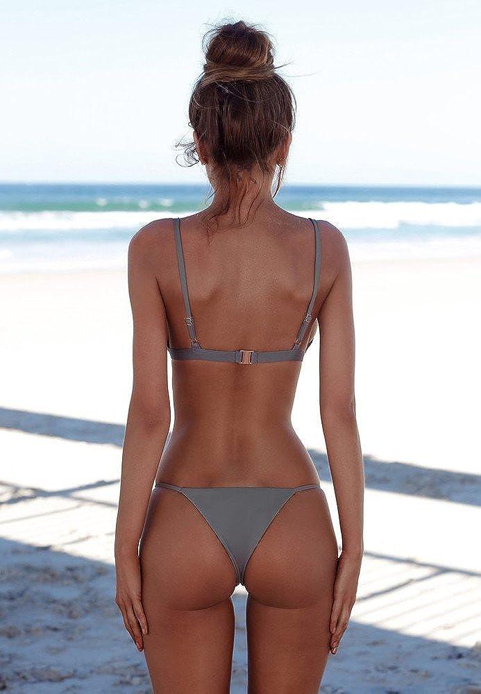 B2prity Damen badeanz/üge Push Up String Bikini Set Einfarbig Zweiteilige Strand Tragen Halfter Schiebe Bikini Top Sport Split Bikini Bottoms binden Knoten Bikini