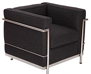 Modern Style Le Corbusier LC2 Armchair/Loveseat/Sofa 1 Seater (Dark Grey  Cashmere