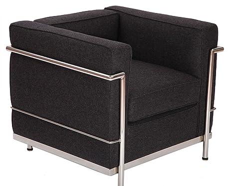 Modern Style Le Corbusier LC2 Armchair/Loveseat/Sofa 1 Seater (Dark Grey  Cashmere