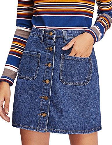 Verdusa Women's Button Pockets Front Denim A-Line Short Skirt Blue (Cute Denim Skirt)