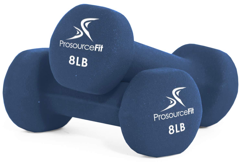 ProsourceFit Set of 2 Neoprene Dumbbell Coated for Non-Slip Grip, Blue-8lb