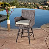 Tustin Wicker Outdoor Swivel Arm Bar Stool