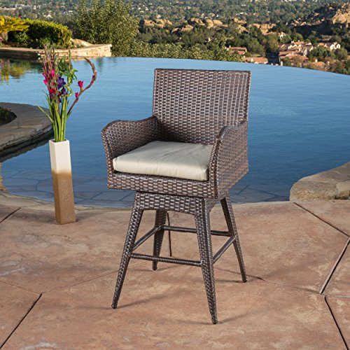 Tustin Wicker Outdoor Swivel Arm Bar Stool by Great Deal Furniture