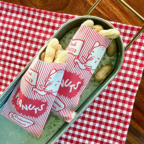 Outside the Box Papers Popcorn Bags Peanut Sacks and Striped Paper Straws 36 of Each Bag and 25 of Each Straw Red, White, Blue