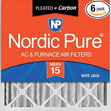 3-5//8 Atcual Depth Nordic Pure 20x20x4 MERV 10 Pleated Plus Carbon AC Furnace Air Filters 20 x 20 x 4 2 Piece