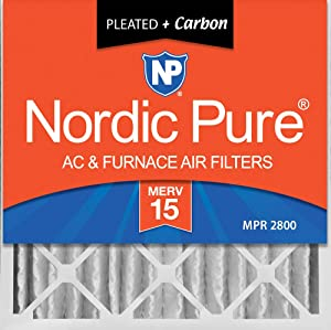 Nordic Pure 20x20x4 (3-5/8 Atcual Depth) MERV 15 Plus Carbon Pleated AC Furnace Air Filters, 2 PACK, 2 PACK