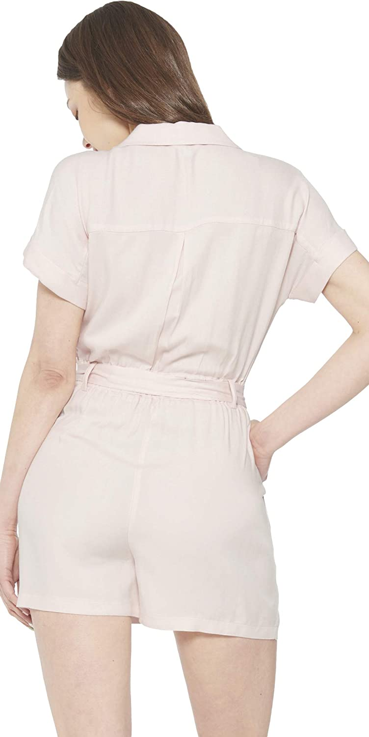 May You Be Women/'s Summer V Neck Short Sleeve Button Front Self Tie Utility Romper Jumpsuit