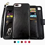 iPhone 8 Plus Case,iPhone 7 Plus Wallet Cases with Detachable Slim Case with 9 Card Slots,Stands,Strap for Apple iPhone 7 Plus(2016)/8 Plus(2017),CASEOWL 2 in 1 Folio Leather Removable TPU Case(Black)